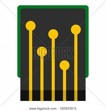 Computer processor icon flat isolated on white background vector illustration