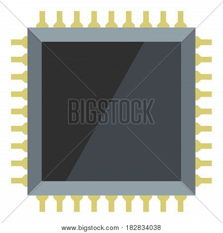 Computer microchip icon flat isolated on white background vector illustration