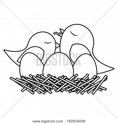 monochrome silhouette of bird in nest with eggs and chick vector illustration