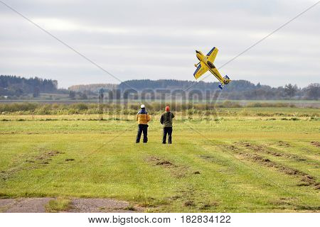 AIZPUTE LATVIA - OCTOBER 15 2016: Unknown people piloted aircraft model.