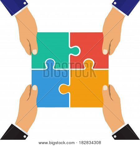 Collaboration concept. Cooperation teamwork. Successful solution puzzle. Symbol of partnership. Vector flat design