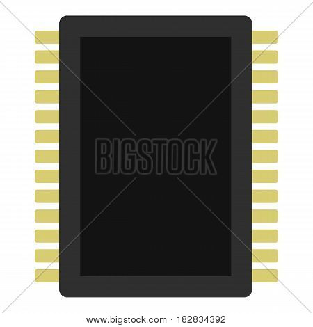 Computer electronic circuit board icon flat isolated on white background vector illustration