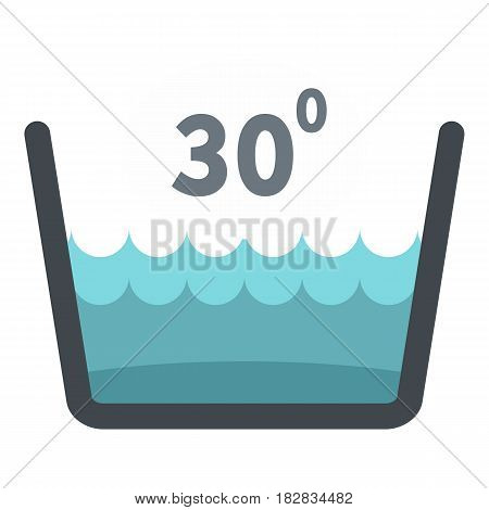 Delicate gentle thirty degrees washing laundry symbol icon flat isolated on white background vector illustration
