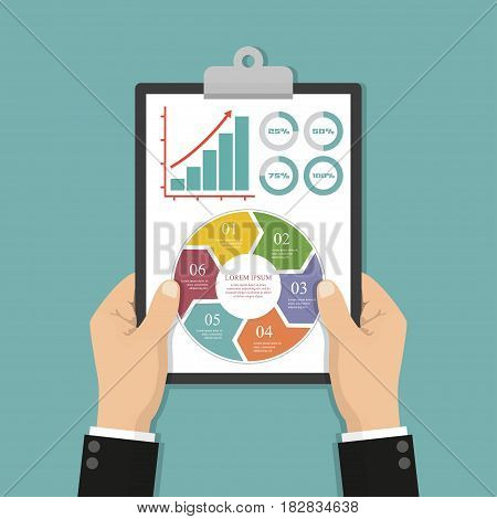 Businessman hands holding clipboard with infographics. Vector illustration