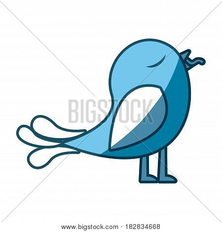 blue silhouette of bird with worm in the peak vector illustration