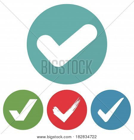 Set of different checkmark icon on a circles. Vector illustration