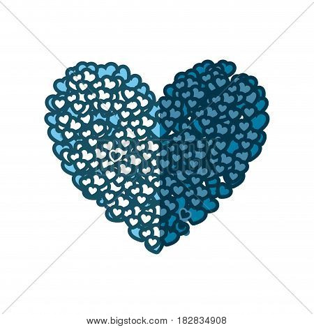 blue silhouette of many hearts forming a big heart vector illustration