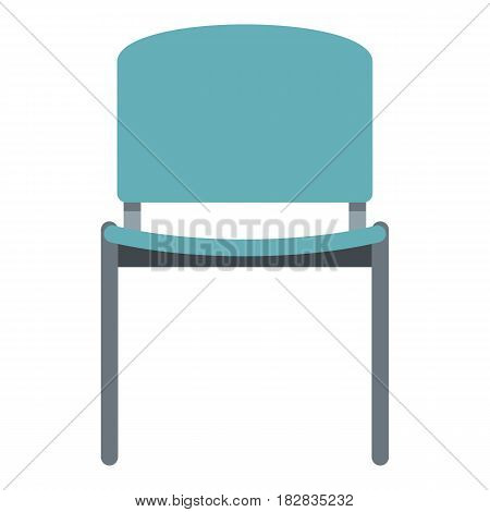 Blue office metal chair icon flat isolated on white background vector illustration