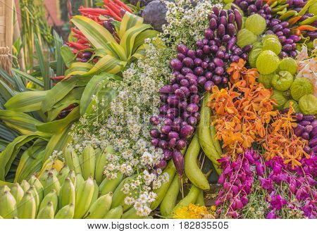 Thai Namwa banana with flower and Eggplant. poster