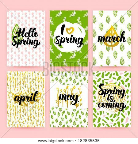 Spring Greetings Trendy Brochures. Vector Illustration of 80s Style Poster Design with Handwritten Lettering.