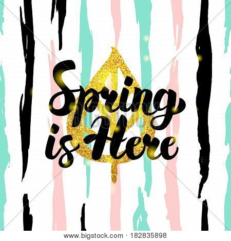 Spring is Here Handdrawn Card. Vector Illustration of Nature Trendy Postcard with Calligraphy.