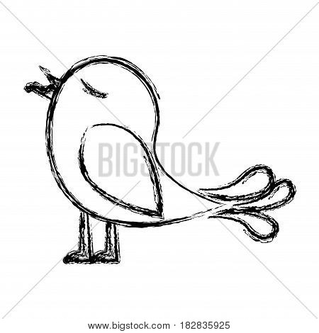 monochrome sketch of bird with worm in the peak vector illustration