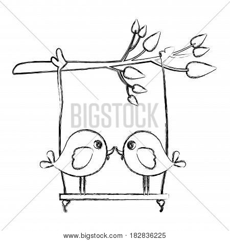 monochrome sketch of tree branch with swing and couple of birds in closeup vector illustration
