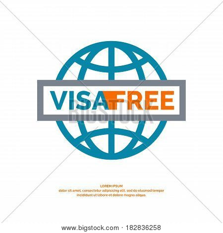 Modern vector poster free visa. Illustration in simple line style on a white background with blue globe