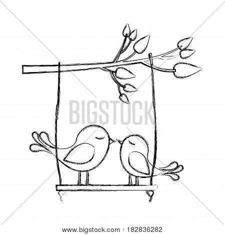 monochrome sketch of tree branch with swing and couple of birds vector illustration