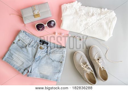 Fashion summer women clothes set Flat lay Top view