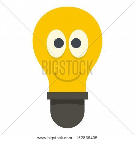 Yellow smiling light bulb with eyes icon flat isolated on white background vector illustration