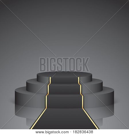 Black vector stage with stairs and carpet, isolated on a dark background. Luxury podium with golden elements.