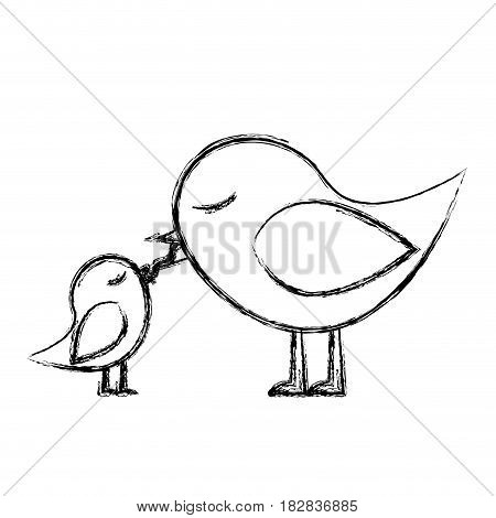 monochrome sketch of bird feeding a chick vector illustration