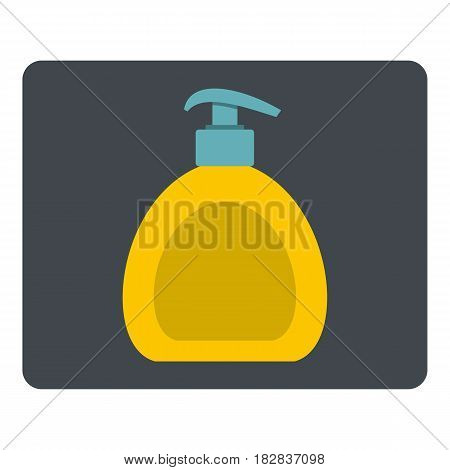 Yellow liquid soap bottle icon flat isolated on white background vector illustration