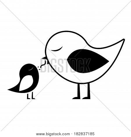 black silhouette of bird feeding a chick vector illustration