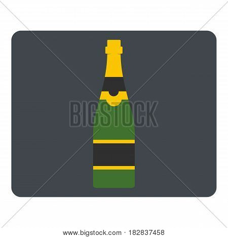 Champagne bottle icon flat isolated on white background vector illustration