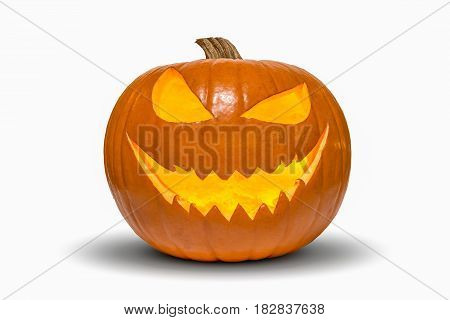 Halloween pumpkin with smiling face isolated on white