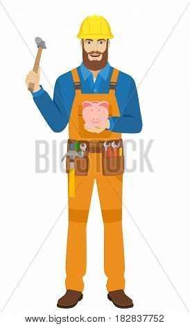 Worker trying to break a piggy bank with a hammer. Full length portrait of worker character in a flat style. Vector illustration.