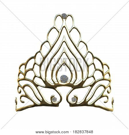 3D Rendering Queens Crown On White