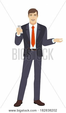 Businessman with mobile phone gesturing. Full length portrait of businessman in a flat style. Vector illustration.