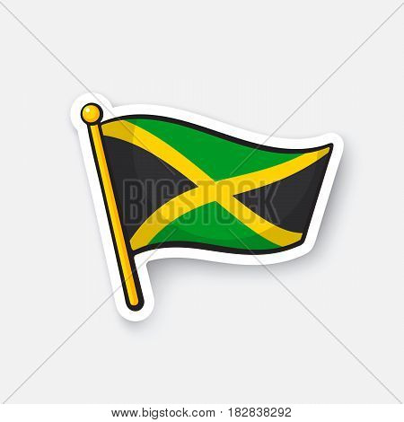 Vector illustration. National flag of Jamaica. Location symbol for travelers. Cartoon sticker with contour. Decoration for greeting cards, posters, patches, prints for clothes, badges, emblems
