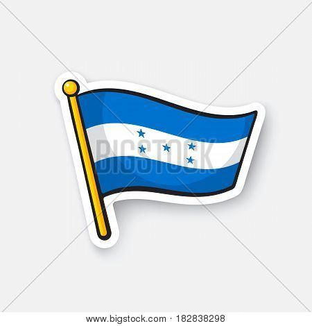 Vector illustration. National flag of Honduras. Location symbol for travelers. Cartoon sticker with contour. Decoration for greeting cards, posters, patches, prints for clothes, badges, emblems