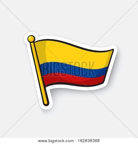 Vector illustration. National flag of Colombia. Location symbol for travelers. Cartoon sticker with contour. Decoration for greeting cards, posters, patches, prints for clothes, badges, emblems