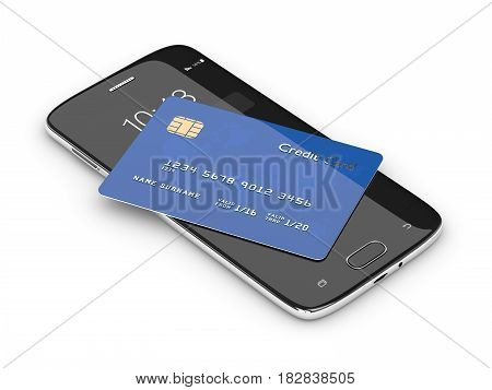 3D Render Of Credit Card Lying On Mobile Phone