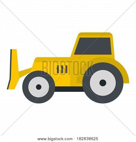 Skid steer loader bulldozer icon flat isolated on white background vector illustration