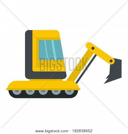 Yellow mini excavator icon flat isolated on white background vector illustration