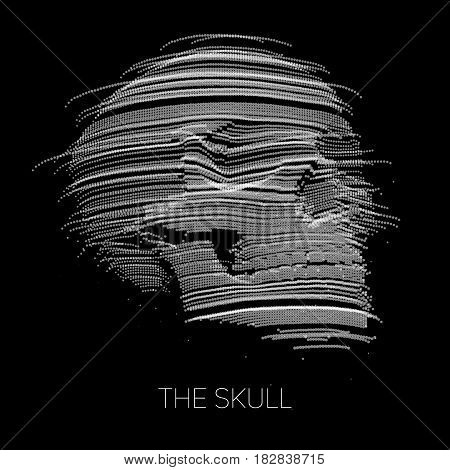 Vector distorted skull constructed with points. Internet security concept illustration. Virus or malware abstract visualization. Hacking big data image.