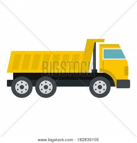 Dumper truck icon flat isolated on white background vector illustration