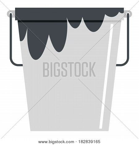 Bitumen emulsion in grey bucket icon flat isolated on white background vector illustration
