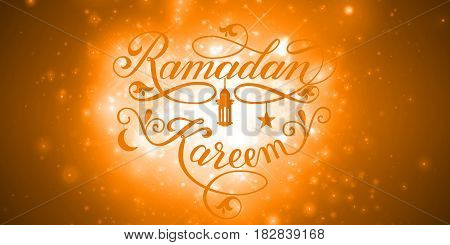 Vector elegant lettering Ramadan Kareem. Muslim holy month illustration with shiny calligraphy, star, crescent moon, mosque and sparkles. Ramazan holiday.