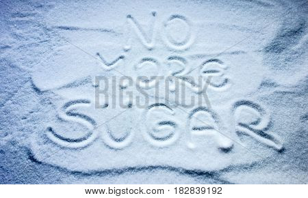 No more sugar text written inside sugar