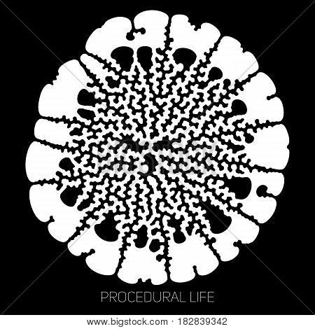 Vector circular unknown life abstract shape. Biological procedural cellular growth structure. Differential growth of organic life. Microbiological complex organism.