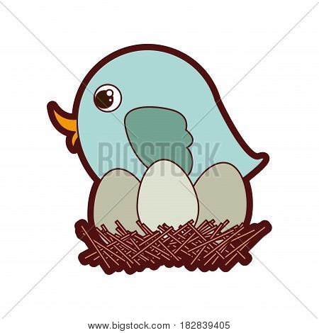 colorful thick silhouette of bird in nest with eggs in closeup vector illustration