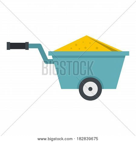 Wheelbarrow full of sand icon flat isolated on white background vector illustration