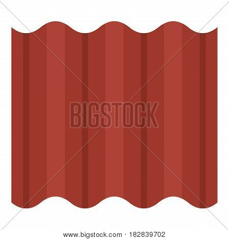 Steel colored goffered plate for roof icon flat isolated on white background vector illustration