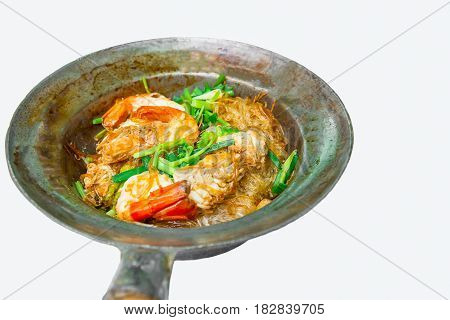 Baked shrimps with glass noodles authentic Thai cuisine