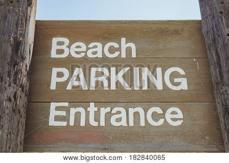 The beach parking entrance sign of Seal Beach of Los Angeles