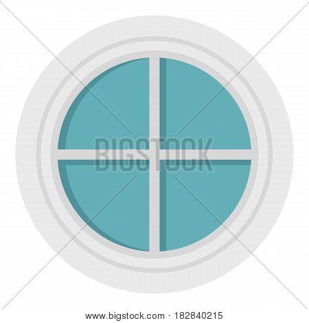 White round window icon flat isolated on white background vector illustration