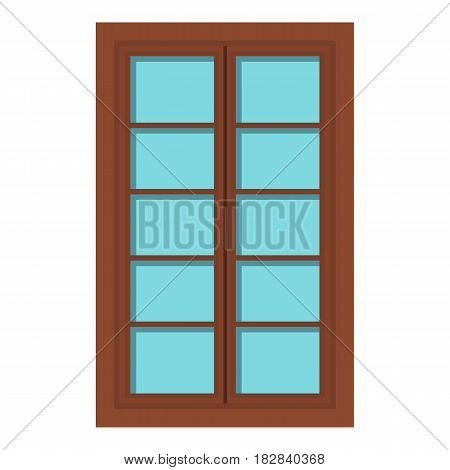 Wooden brown latticed window icon flat isolated on white background vector illustration
