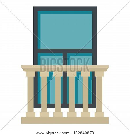 Classic balcony balustrade with window icon flat isolated on white background vector illustration